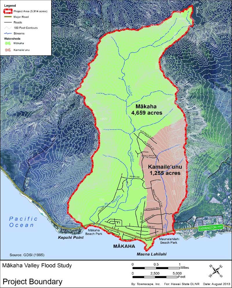 Mākaha Valley Flood Study / Townscape, Inc on honolulu neighborhood map, honolulu county map, pahoa map, kapaa map, kaha lani map, laie map, hawaiian paradise park map, north kohala map, lanikai map, waianae map, kahala map, sunset map, waipahu map, makawao map, mililani map, honolulu bus route map, hawaiian beaches map, pauoa valley map, punaluu map, aina haina map,